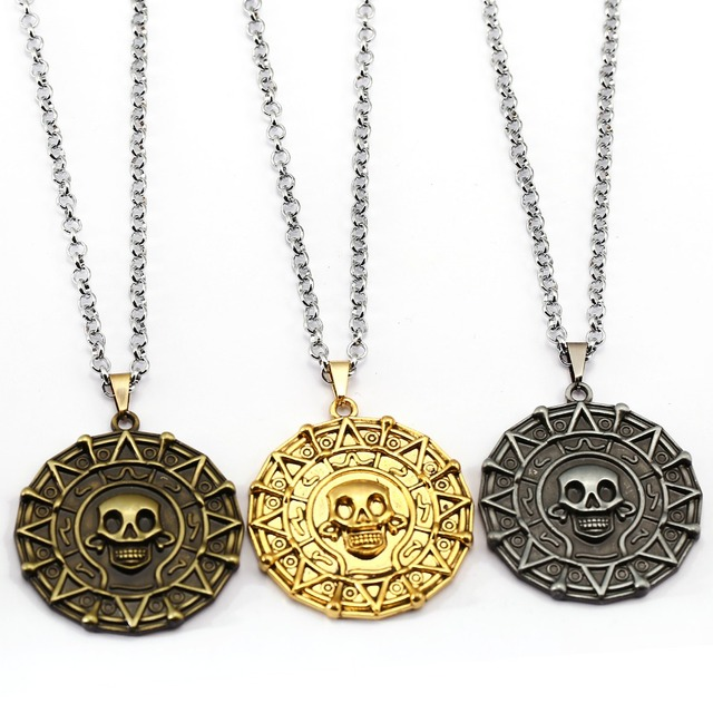 Gold Coin Pirates Of The Caribbean Necklace Metal Chain Choker