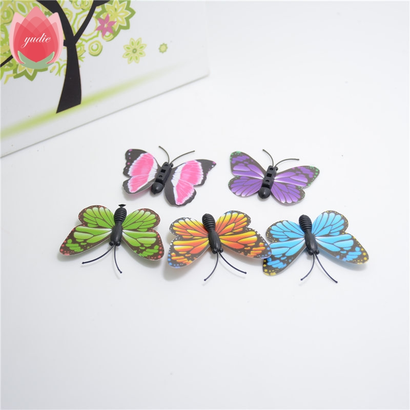 2017 10pcs Plastic Realistic Artificial Butterfly For Wedding Home Decoration DIY Scrapbooking Decorative Wreath Fake Flowers