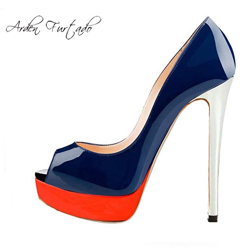 Leopardo Moda blue Red Las Fiesta Plataforma De Verano 2019 Zapatos Tacones Black Personalidad Cuero Gran Orange Yellow apricot La Tamaño Mujeres qfXpfO