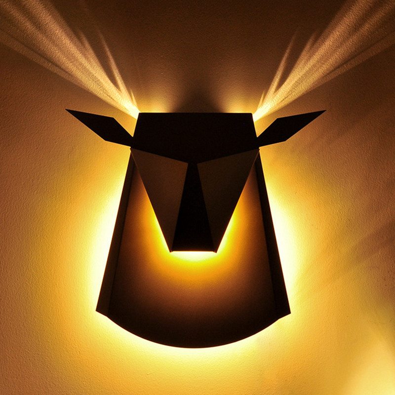 New Hot Sale Nordic Creative LED Iron Oxhead Wall Lamp Bed Room Corridor Post Modern Home Decor Lights Fixture Freeshipping Pric 2017 new sale post modern simple nordic bedroom study bedside aisle balcony creative personality led wall lamp home decor lights
