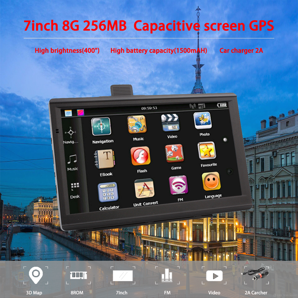 Oriana 733 7 Inch Gps Navigation Car Truck Gps Navigator 256MB+8GB Capacitive Screen Sat Nav Newest Europe Map Russia Navitel(China)