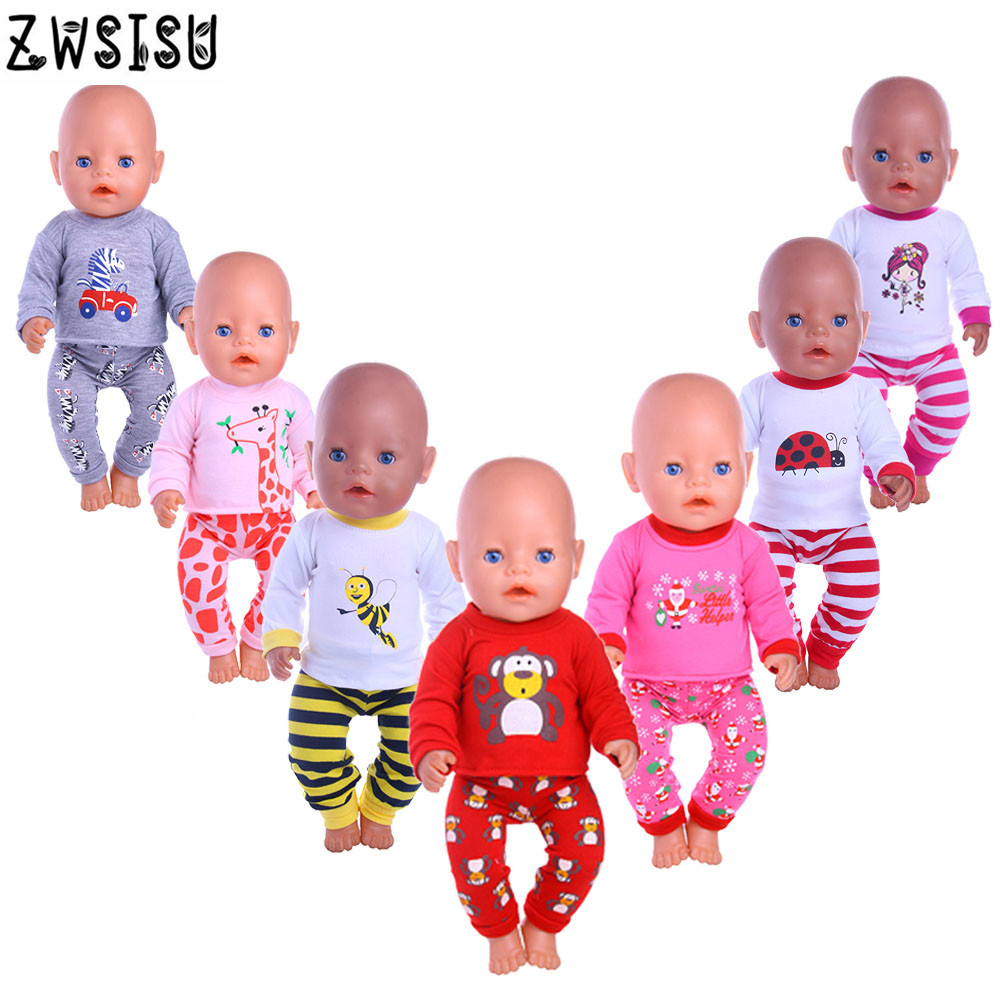 Doll Pajamas Nightgowns With Cute Animals Patterns Fit 18 Inch American Doll & 43 Cm Born Doll For Generation Girl`s Toy