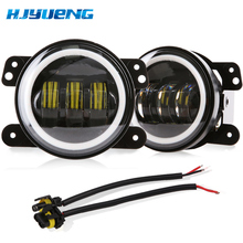 цены 4Inch Round Wrangler Led Fog Light 30W 6000K White Halo Ring DRL Off Road Fog Lamps Running Lights For Jeep Wrangler JK TJ LJ