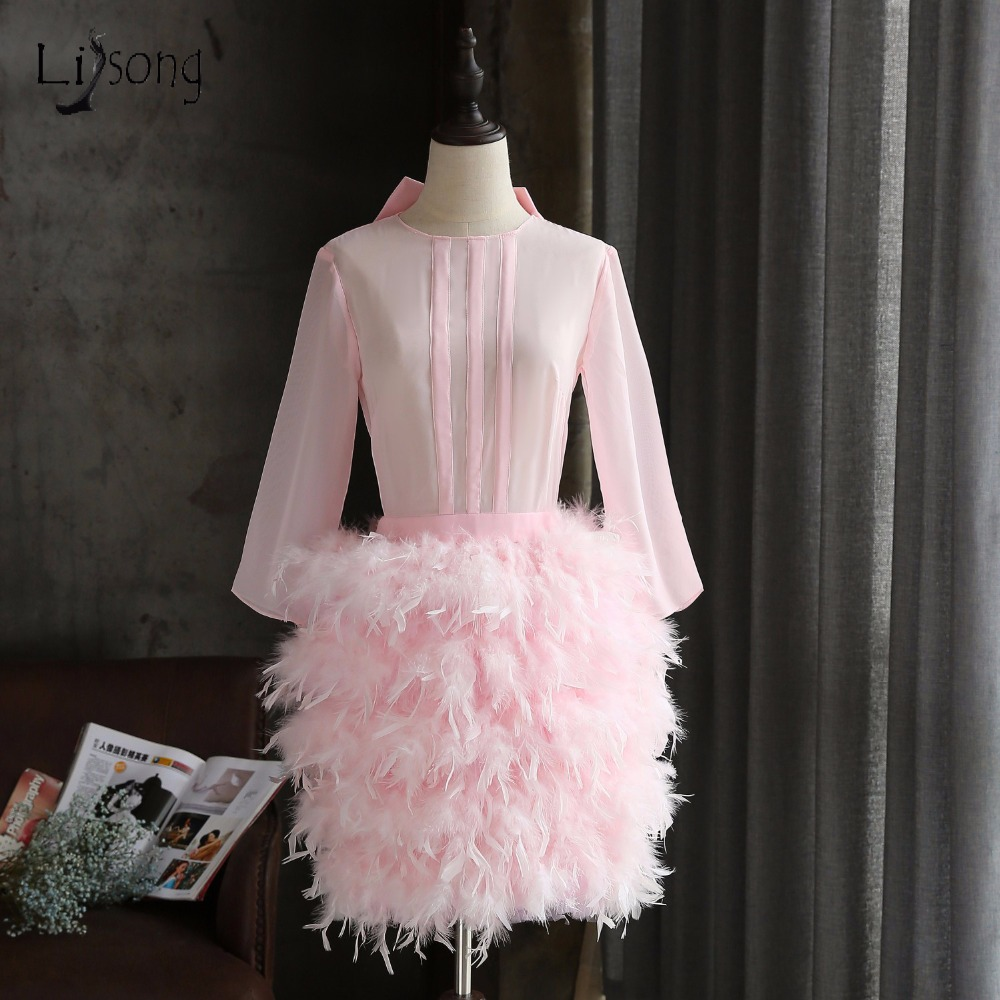 Elegant Straight Feather Short   Cocktail     Dresses   Ribbon Bow Formal Party   Dress   O-neck Mini Sexy Prom Gowns Robe   Cocktail