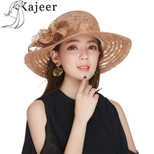 Kajeer Fashion Women Flowers Church Hats Floral Crown Vintage Style Organza  Fascinator Sun Hat Women Party 889c108217b