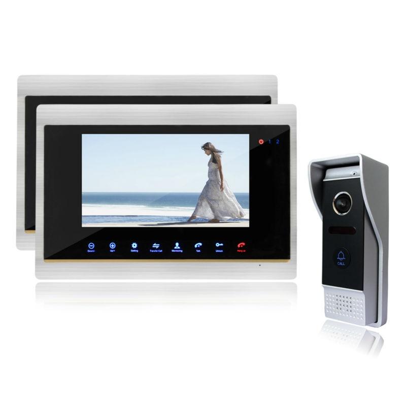 Homefong  Video Door Phone 2 Monitors 7 TFT LCD Doorbell Intercom System With High Definition IR Night Vision Camera 1v2