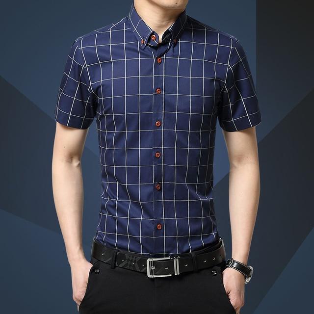6f91041197 Roupas masculinas 2019 Nova Camisa Verão Camisa Masculina de Negócios de  Moda Camisa Casual Xadrez de