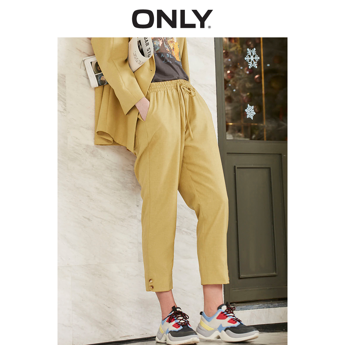 ONLY  Spring Summer Women's Loose Fit High-rise Casual Crop Pants |119150529