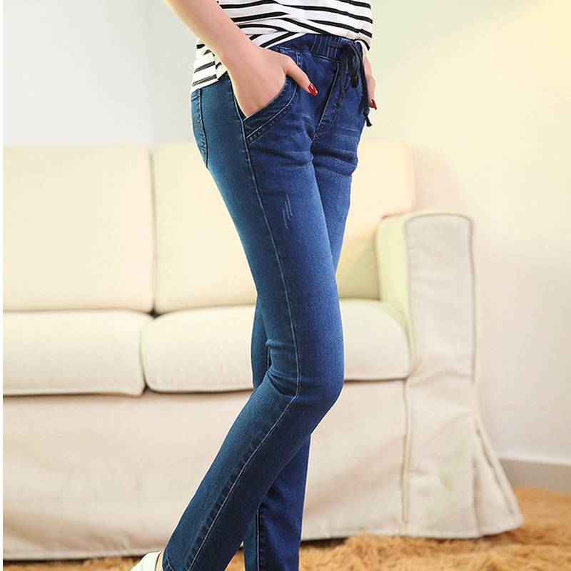 2016 Autumn New Jeans for woman Slim Feet blue elastic waist Jeans Trousers Women Long Pants  Of Female Pencil Pants winter warm jeans woman 2017 new female pencil pants ladies plus size slim slim feet black jeans trousers women jeans long pants