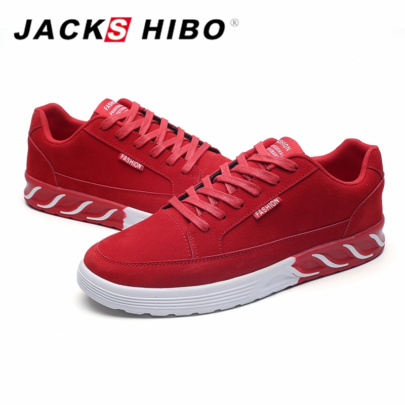 JACKSHIBO 2018 New Mens Casual Shoes Male Sneakers Popular Red Color Men Flats Shoes Spring Footwear Zapatillas Hombre Casual sneakers men casual shoes red bottoms shoes for men sneakers high top leather shoes men flats chaussure homme zapatos hombre