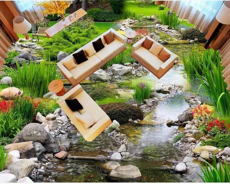 Carrelage de sol éclairé de luxe personnalisé papier peint paysage d'eau 3 d revêtements de sol en vinyle pour salon rouleau de sol en pvc