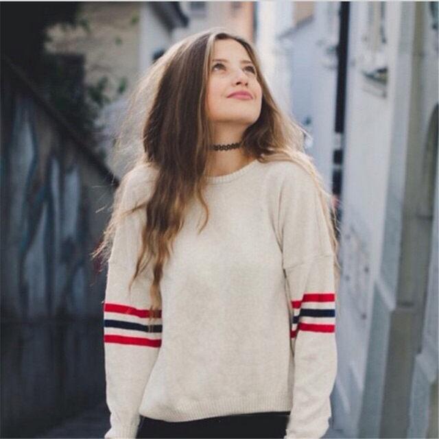 2017 Mode femmes suéter feminino brandy Melville Veena rayé oversize poncho  pull pull femme tricoté Chandail