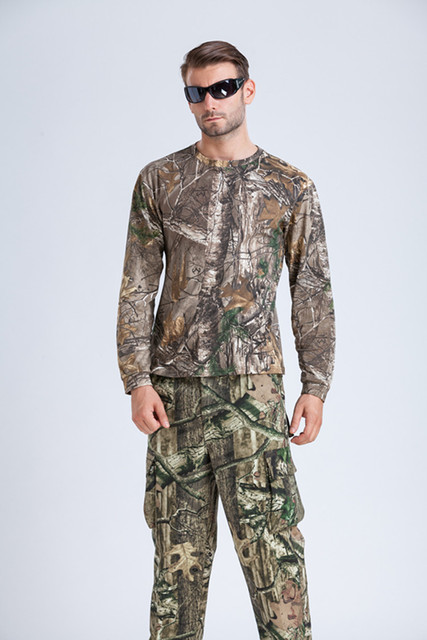 b2a6f822e2fe1 Reed Camo Pattern Duck Hunting T shirt Long Sleeve Reed Camouflage Shirt Clothes  Free Shipping