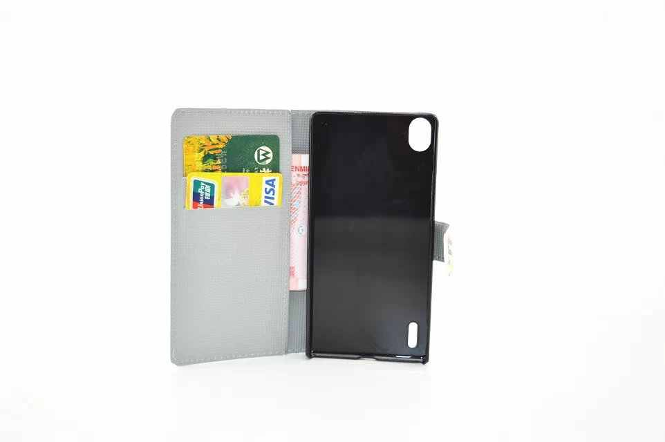 for Huawei Ascend L70 L90 P7 Y300 phone case soft smooth PU leather+hard PC back Painted cover flip stand wallet style