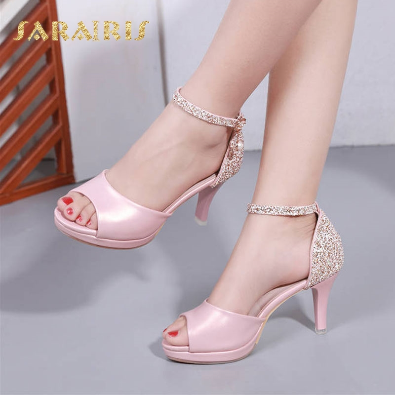 SaraIris Quality Spiked High Heels Glitter Ankle Strap Open Peep Toe Platform Summer Party Wedding Casual Shoes Woman Sandals