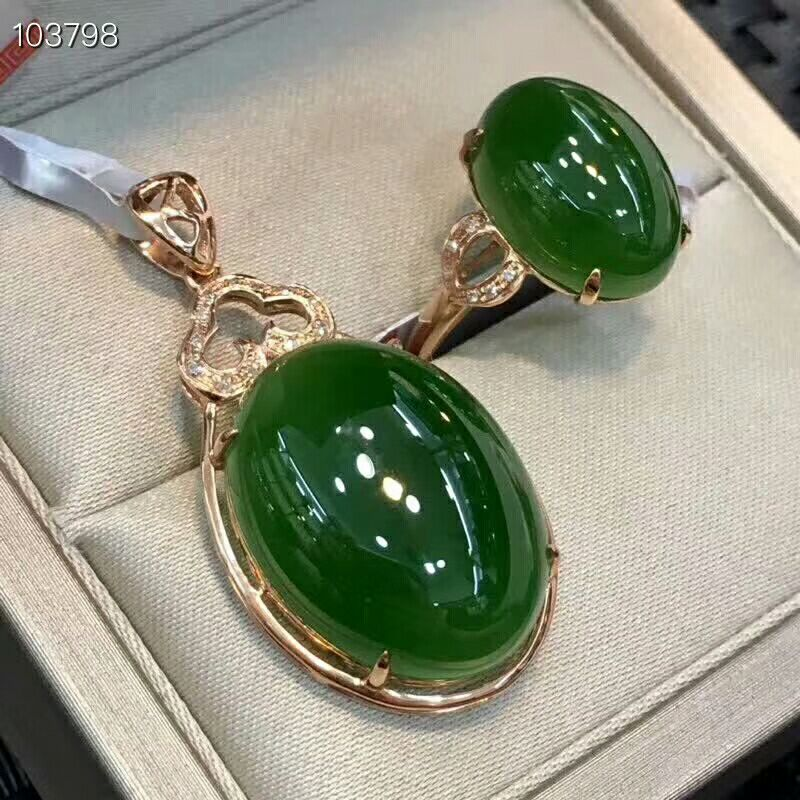 MeiBaPJ Classic Big Natural Nephrite Jade Gemstone Jewelry Set 925 Sterling Silver 2 Siut Green Stone