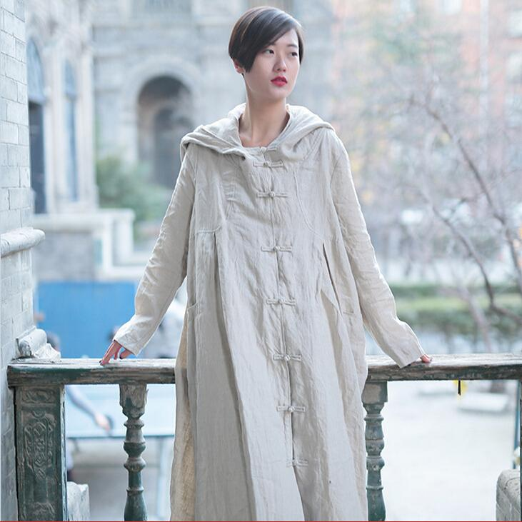 New Women Long Sleeve Loose Plus Size Robe Trench Coat 2017 Solid Color Single Breasted Cardigan Vintage Hooded Trench Coat