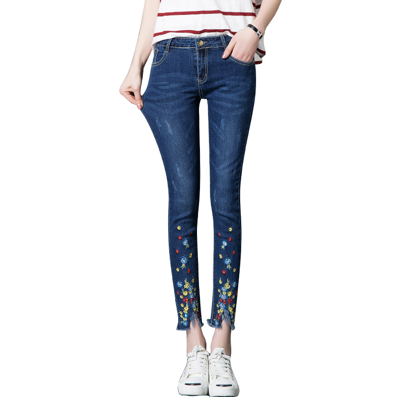 Plus Size Flowers Embroidered Jeans Women Denim Pants Vintage Trousers Mid Waist Slim Fit Stretch Casual Skinny Jeans Female 439 rosicil women vintage low waist jeans pencil stretch denim pants female slim skinny trousers for woman womens plus size