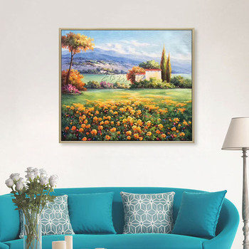 Mediterranean landscape on canvas flower art oil painting original texture mountain Wall Art picture for living room quadro
