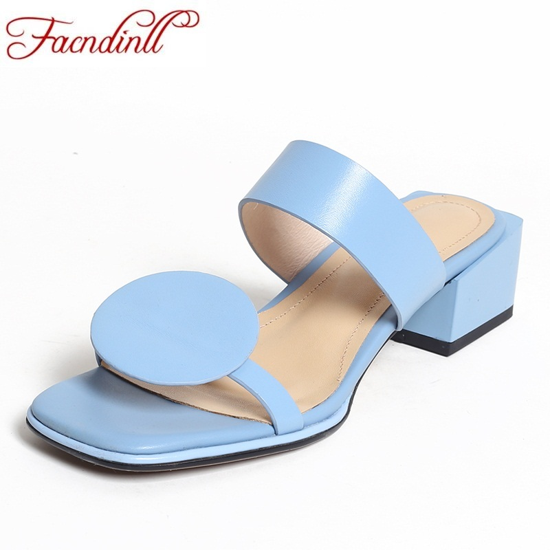FACNDINLL hot fashion genuine leather summer sandals woman 2018 new square heel sandals open toe women sweet dress party slipper lastest women summer sweet sandals slipper fashion solid color suede flower bow hasp flat heel square toe sandals schuhe damen