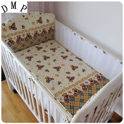 Promotion! 5PCS Mesh Baby Bedding Sets,Cot Bumper and Sheet,Toddler Bedding Set,Nursery Crib Sheets,include(4bumpers+sheet)