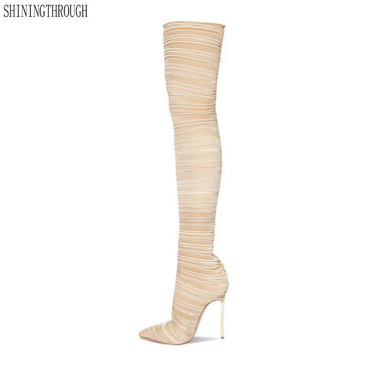 где купить 2018 Autumn Winter Women Boots Stretch Slim Thigh High Boots Fashion Over the Knee Boots High Heels Shoes Woman Sapatos по лучшей цене