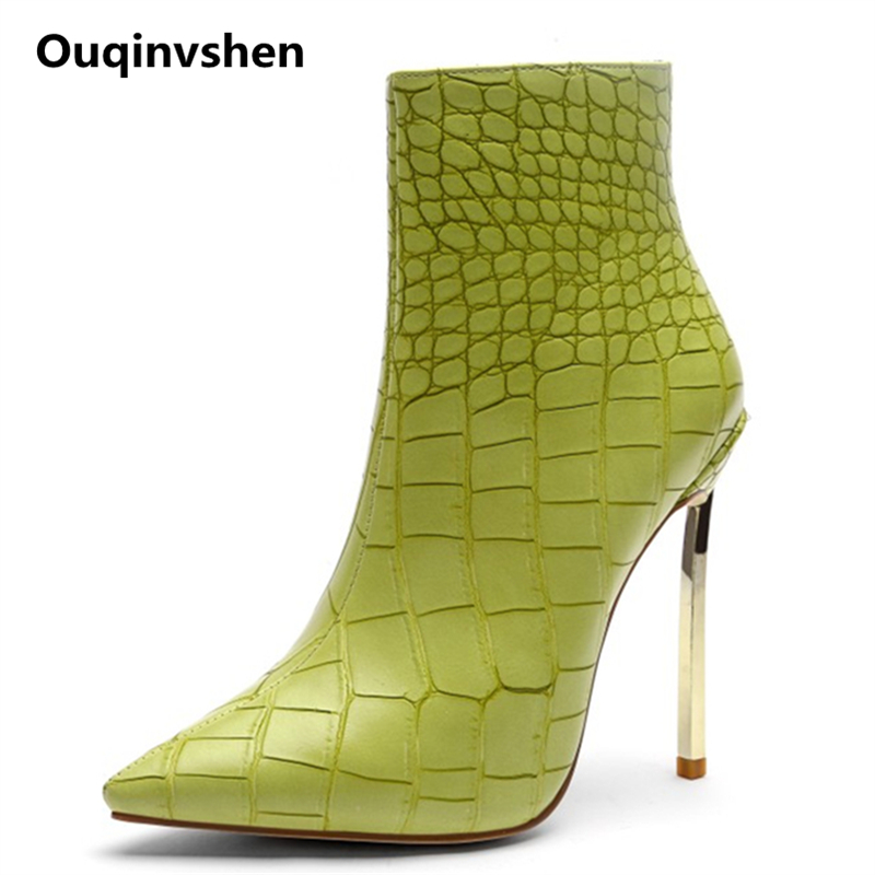 Ouqinvshen Pointed Toe High Heels Pumps 12CM Stiletto Green Fashion Short Plush Winter Party Shoes For
