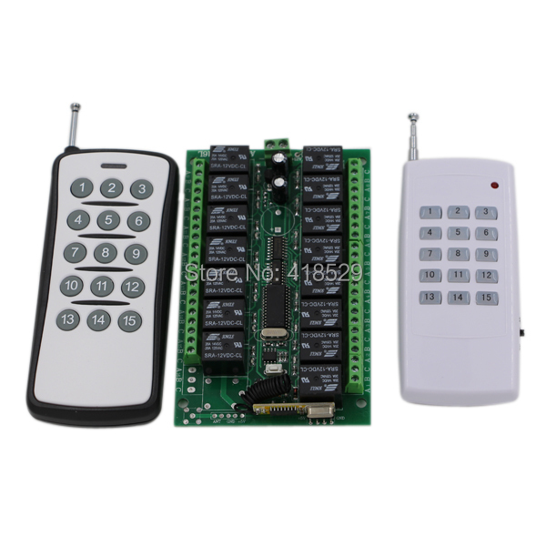 Universal 433/315Mhz Relay RF Remote Control,DC 12V 7A 15CH Wireless Switch 2 Transmitter+1 Receiver For Access System SKU: 5032