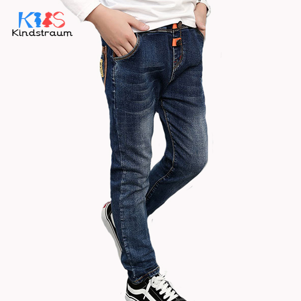Kindstraum Boys Jeans 2017 New Fashion Brand Kids Denim Pants Spring Autumn Children Patchwork Casual Pants for School, MC872 spring autumn new cool jeans boys children baby old pants denim pants tide 2 7 ages free shipping loose straight casual solid