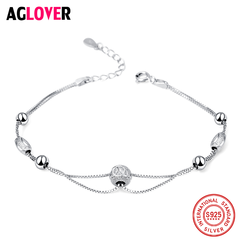 100% 925 argent Sterling bijoux fins boule charme perle Bracelets pour femme boîte de mariage chaîne Bracelets Bracelets cadeau