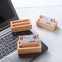 1pc 2 Grid Wooden Business Card Case Cards Storage Box