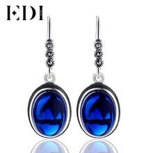 Vintage 925-Sterling-Silve Blue Precious Stone Red Ball Drop Earrings Zircon Oval For Women Luxury Fashion Thai Silver