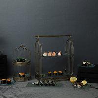 metal bird cage fruit plate dessert table decoration buffet glass display dish snack plate moldes de silicona para fondant