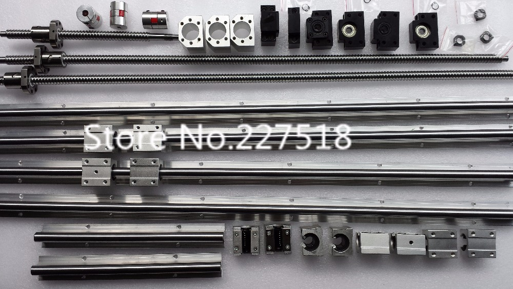 6 sets linear rail SBR16 L300/700/1500mm+SFU1605-350/750/1550mm ball screw+3 BK12/BF12+3 DSG16H nut+3 Coupler for cnc 6 sets linear rail sbr16 l300 900 1100mm sfu1605 300 900 1100mm 1100mm ball screw 4 bk12 bf12 4 dsg16h nut 4 coupler for cnc