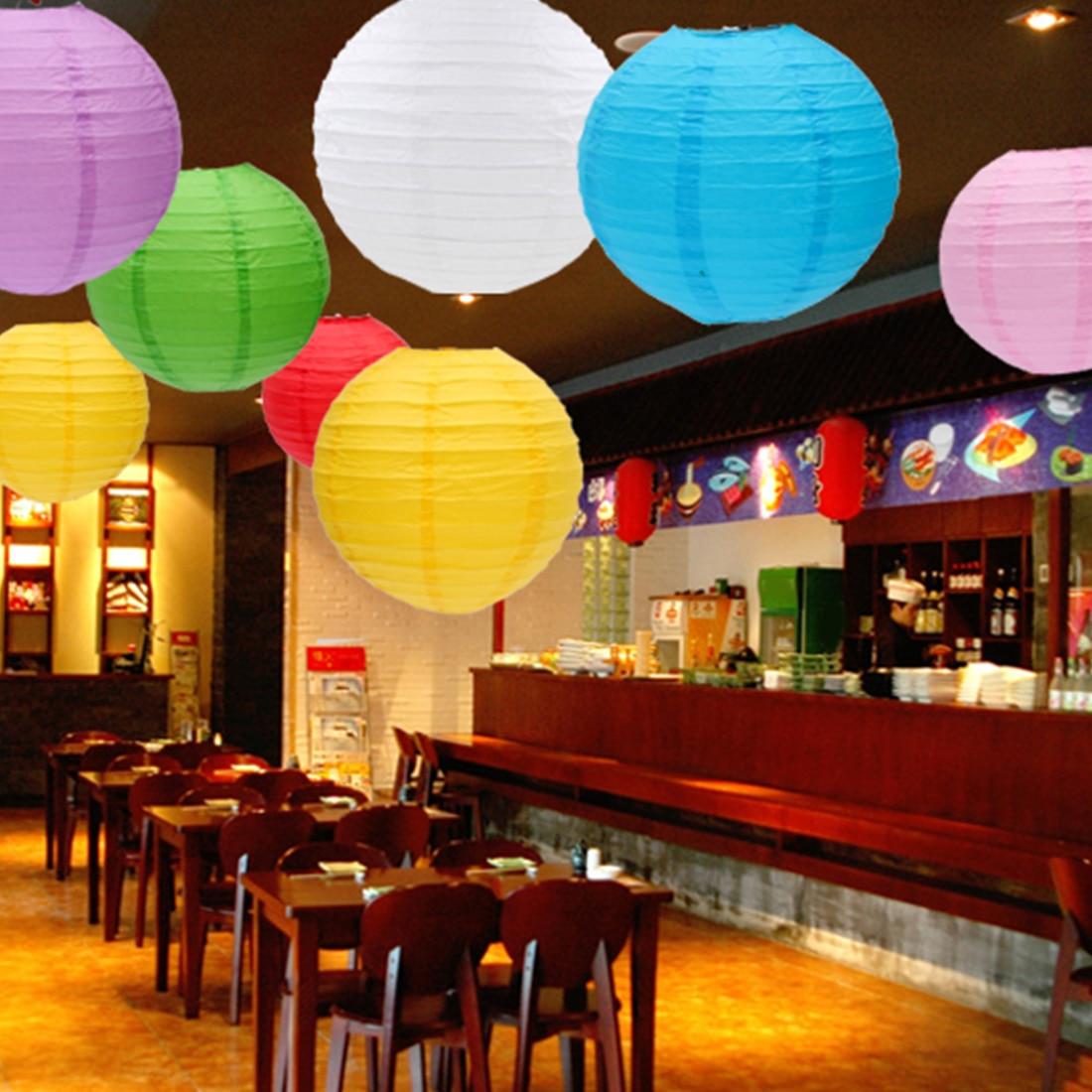 US $3 46 6% OFF|1/5Pcs Round Chinese Paper Lantern Birthday Wedding Party  Decor Craft DIY Lampion White Hanging Lantern Ball Party Supplies-in