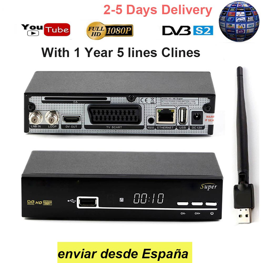 V8 SUPER Receptor DVB-S2 HD FTA Satellite TV Receiver free 1 Year Europe 5 lines cccam + USB WIFI Support Cccam/Youtube europe 5 lines cccam cline for 1 year spain germany tv for dvb s s2 satellite receiver v7 hd v8 super iks receptor