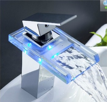 LED temperature light square glass waterfall led bathroom faucet torneira banheiro cozinha
