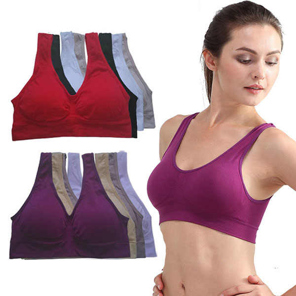 665140273a Womens Sport Bra No Wire-rim Bras Female Fitness Yoga Running Vest Underwear  Padded Crop