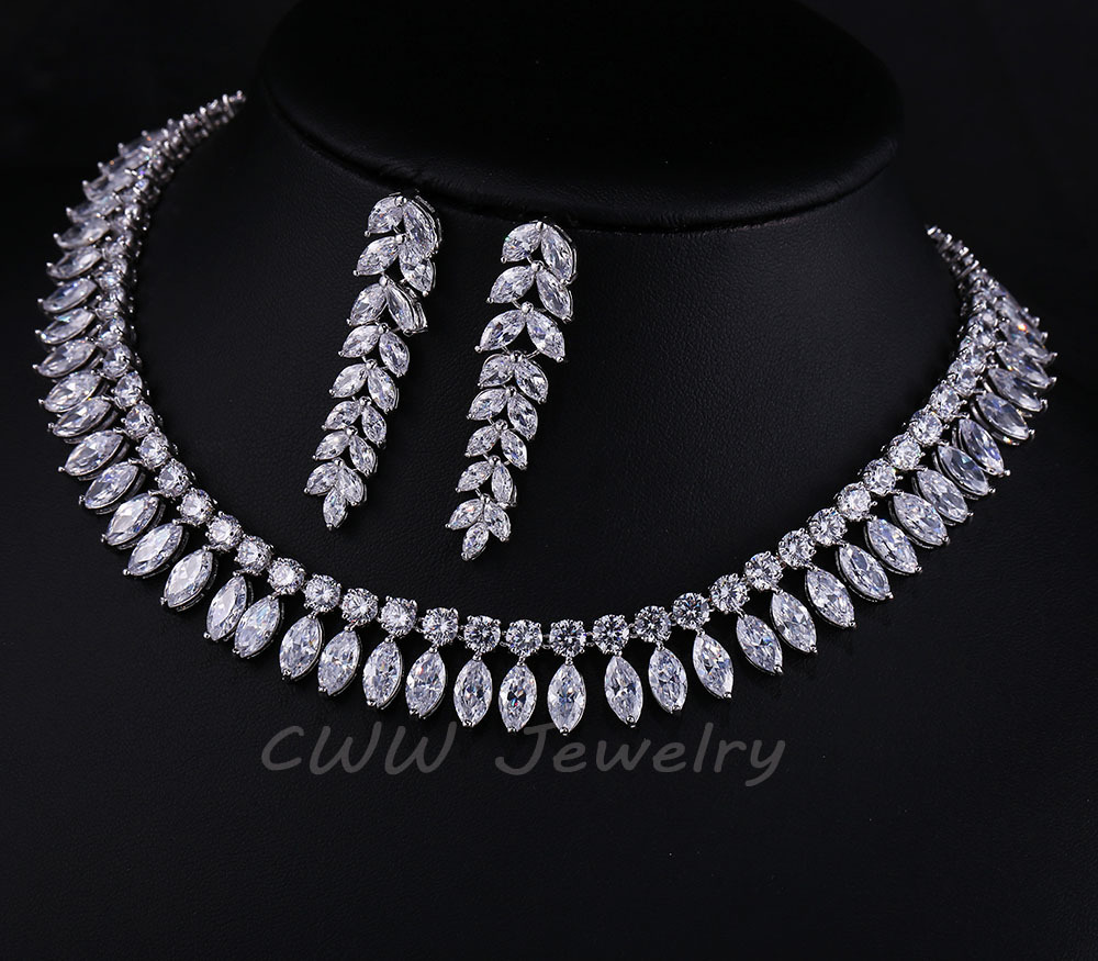 Cwwzircons white gold color marquise cluster big bridal necklaces cwwzircons white gold color marquise cluster big bridal necklaces and earrings cubic zirconia wedding jewelry sets t163 in bridal jewelry sets from jewelry junglespirit Image collections