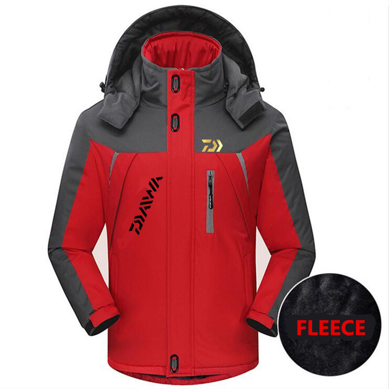 2019 Men Outdoor Daiwa Fishing Clothing Fleece Winter Waterproof Warm DAWA Fishing Jackets Patchwork Hooded Mountaineering Suits