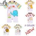 Розничная 0-3 лет 5 модели с коротким Рукавом Младенческой ползунки мультфильм для мальчиков девочек комбинезоны Одежда одежда