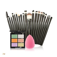 Pro 6 Colors Face Contour Concealer Palette Foundation Sponge Puff 20pcs Facial Makeup Brush Set Beauty
