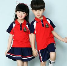 Childrens summer cotton class pupils uniforms sportswear wholesale service casual clothing kindergarten school