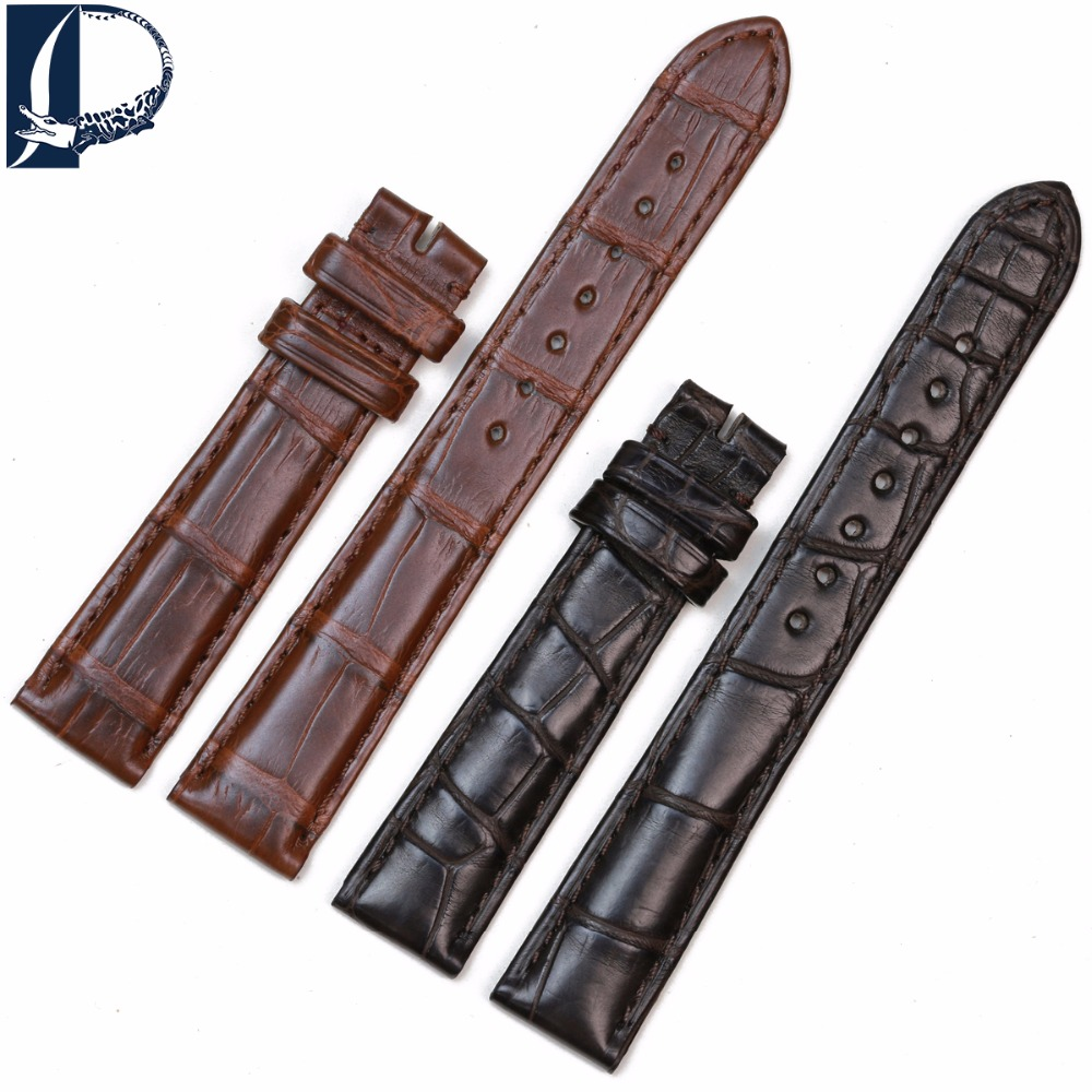 Pesno Lady Alligator Skin Leather Watch Band Genuine Crocodile Leather Watch Strap for Cartier Tank цена