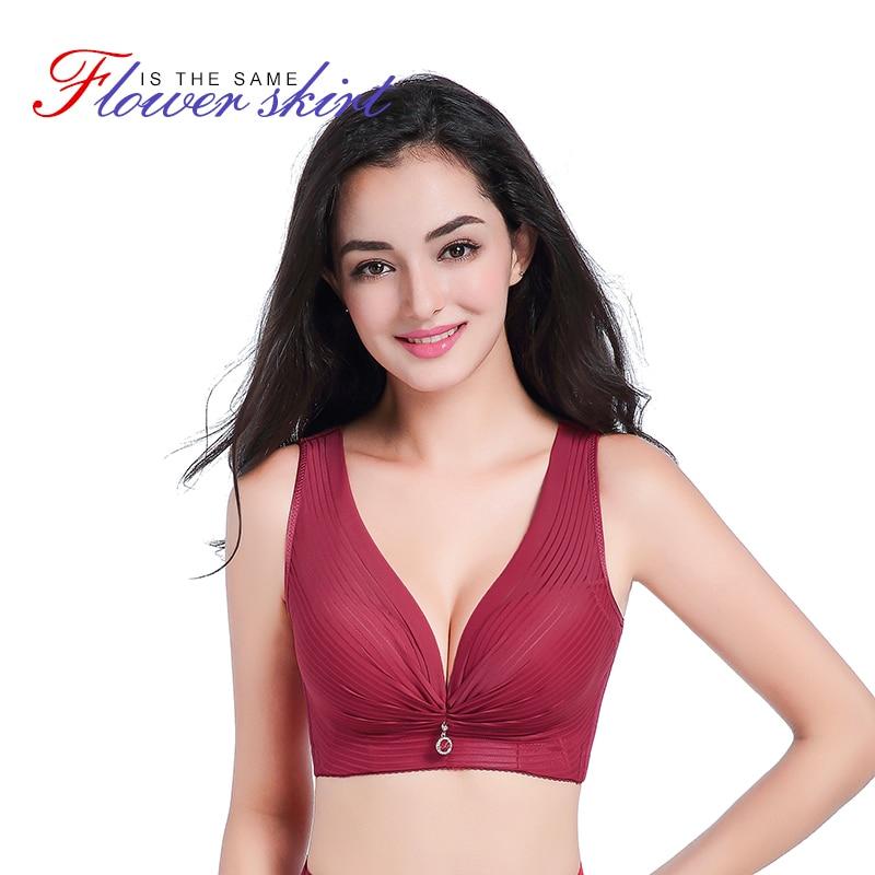 GRMANE Sexy Plus Size Lace Bra Lingerie Push Up Wire Free Bra Deep V C D E Cup Bralette Women Underwear Backless Bra Tops 146