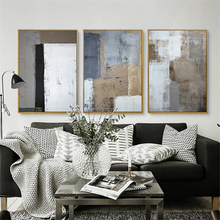 HAOCHU Triptych Nordic White Black Grey Square Picture Modern Poster Hand Painted Canvas Painting Wall Art for Living Room Decor
