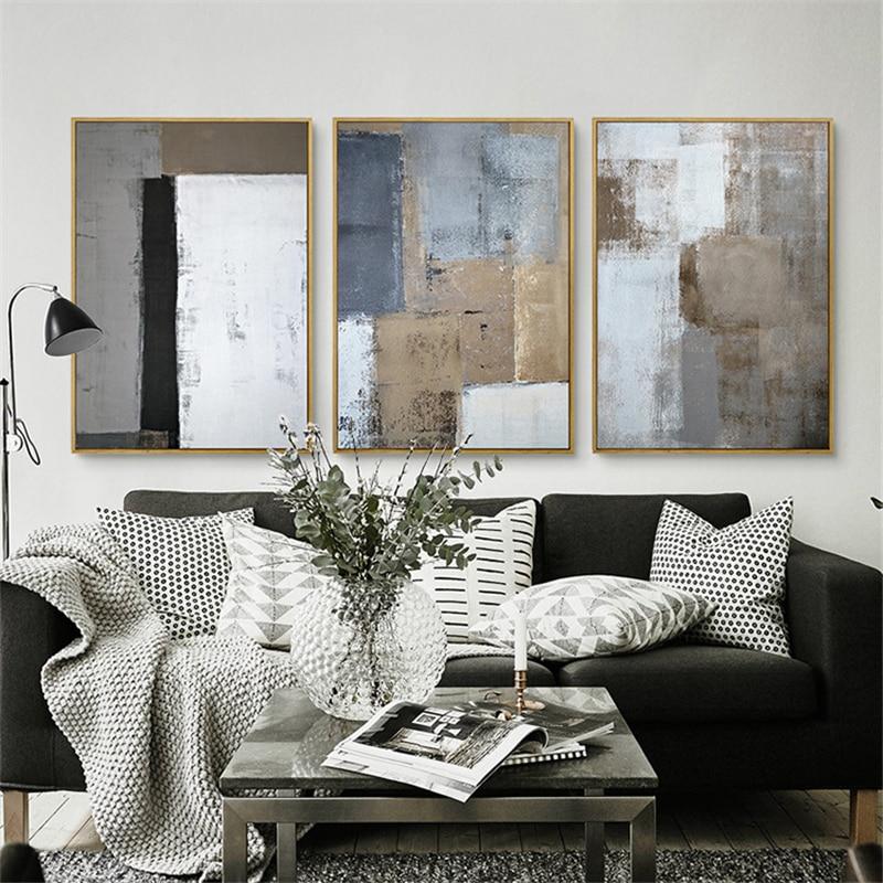 HAOCHU Triptych Nordic White Black Grey Square Picture Moders