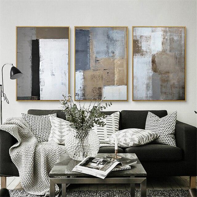 Haochu Триптих Nordic Белый Черный Серый Площадь изображения современный плакат Ручная роспись холст картины стены Книги по искусству для Декор в гостиную