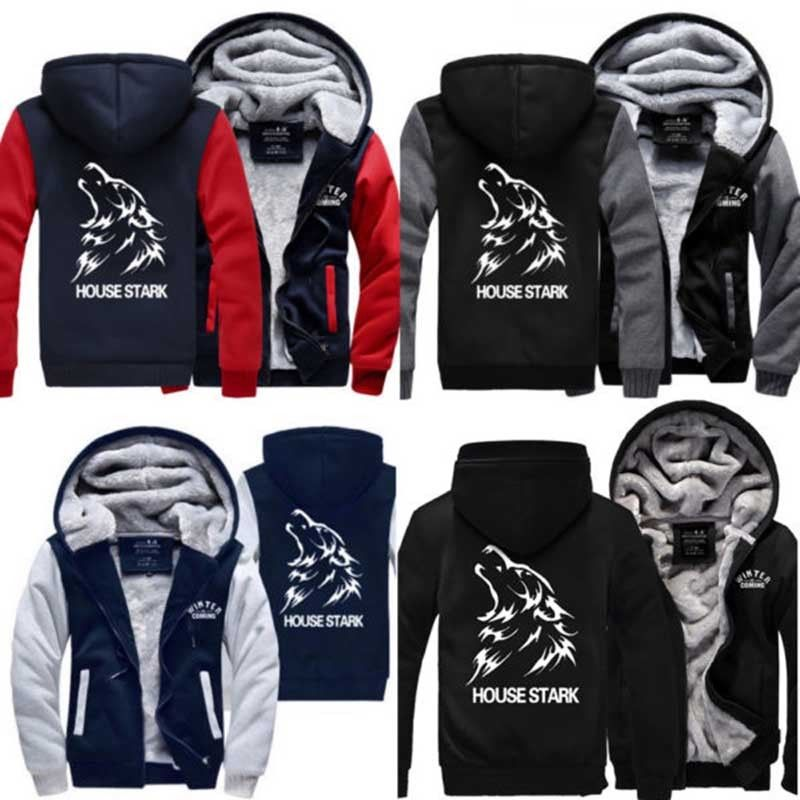 Game of Thrones House Stark Mens Boys Sweatshirt Winter Thicken Men Hoodies Sportwear