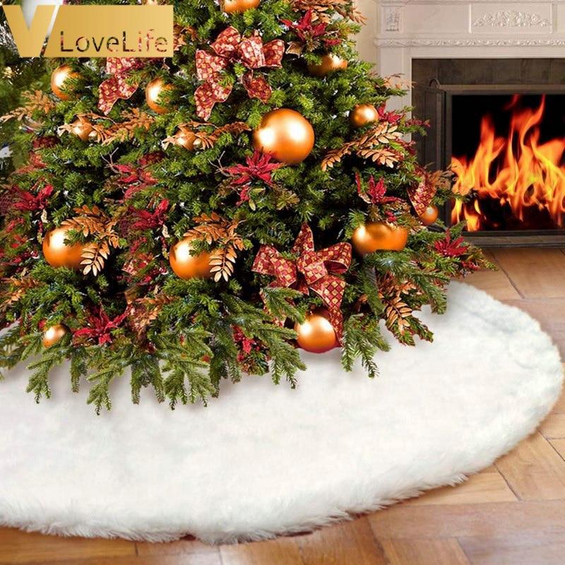 White Plush Christmas Tree Skirt Aprons Christmas Tree Carpet Christmas Decorations for Home New Year Xmas